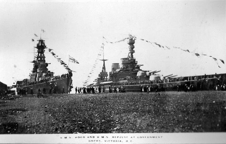 HMS Hood and HMS Repulse at Government Docks, Victoria, B.C.
